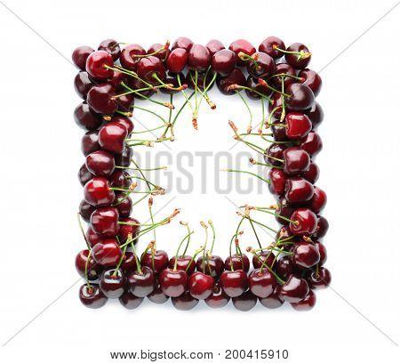 Frame made of fresh cherries on white background