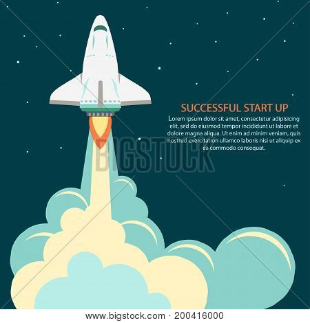 Space rocket launch. Project development. Spaceship Start up concept flat style. Businesses Innovation Development. Vector