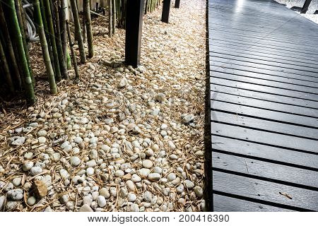 Black Wooden Garden Path On White Pebbles With Bamboo.