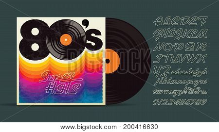 80's music mix. Vintage retro font. Fashion, graphic background style. Disco party 1980, dance night night. Radio popular playlist. Easy editable for Your design.