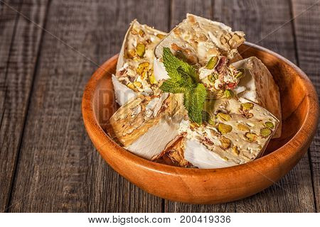 Nougat with honey and nuts. selective focus
