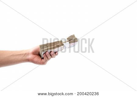 Hand Holding Stack Of Many Thai Money On White Background.