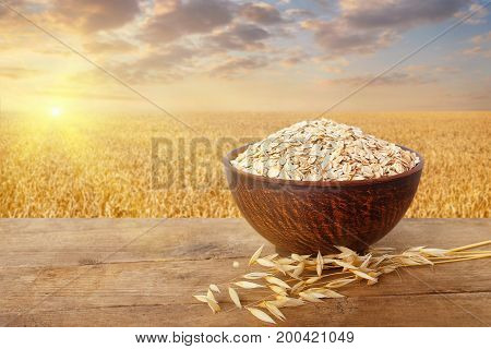 oatmeal in bowl and oat ears on table with ripe cereal field on the background. Golden field on sunset. Uncooked porridge. Agriculture and harvest concept. Healthy eating for diet and vegan