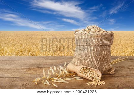 oatmeal in bag, scoop with oat grains, ears of oats on wooden table with field on the background. Ripe field, blue sky with beautiful clouds. Uncooked porridge