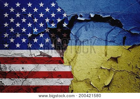 USA america and Ukraine, mutual relations between countries, abstract background of relations.