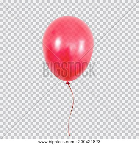 Red transparent helium balloon. Birthday baloon flying for party and celebrations. Isolated on plaid transparent background. Vector illustration for your design and business.