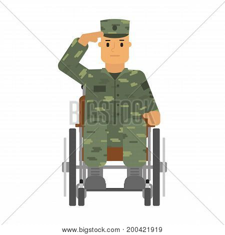 Vector illustration saluted soldier in wheelchair isolatedon white background.