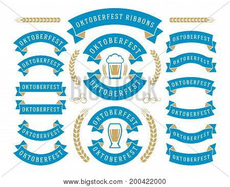 Oktoberfest celebration beer festival ribbons and objects set retro style vector illustration.