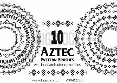 Aztec vector pattern brushes with inner and outer corner tiles. Can be used for borders, ornaments, frames and design elements. All used brushes are included in brush palette.