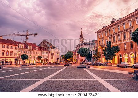 Vilnius, Lithuania: the Town Hall square, Lithuanian Vilniaus rotuses aikste, in the sunrise