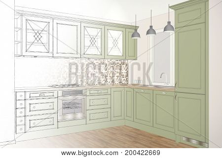 3D illustration. Beautiful classic kitchen design in light interior. Kitchen sketch.