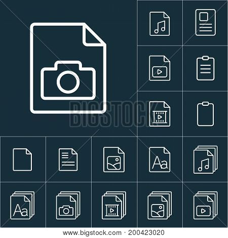 Thin Line Photo File, Gallery Icon, Different Type File Icons Set