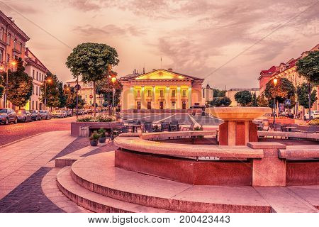 Vilnius, Lithuania: the Town Hall, Lithuanian Vilniaus rotuse, in the square of the same name in the sunrise
