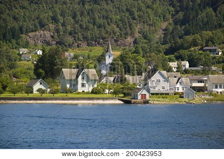 Small village on Hardangerfjord in Norway, Scandinavia