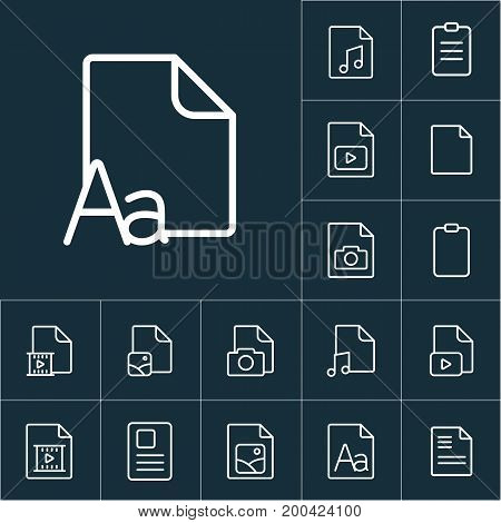Thin Line Grammar, Letter File Icon, Different Type File Icons Set