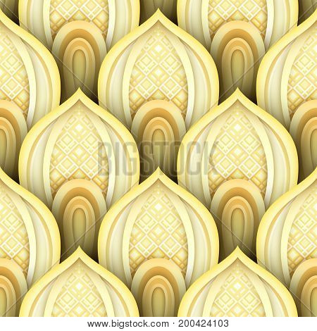Seamless Pattern With Gold Ethnic Motifs