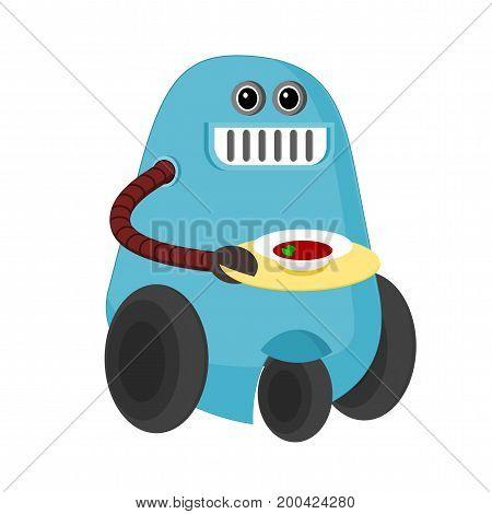 Cartoon blue robot waiter serving a dish