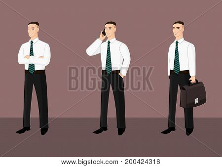Collection of standing businessmen in shirt and tie