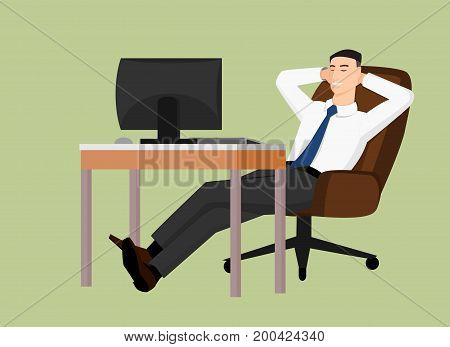 Relaxing businessman sitting behind the table and smiling