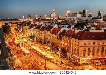 WARSAW, POLAND,  5 AUGUST, 2017: the old town, Krakowskie Predmiescie, the most prestigious street of Polish capital city