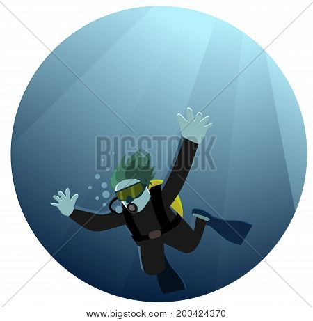 Man diving in sea with aqualung and mask