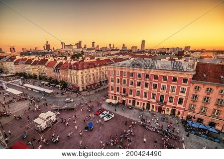 WARSAW, POLAND, 5 AUGUST, 2017: the old town, Krakowskie Predmiescie, the most prestigious street of Polish capital city at sunset