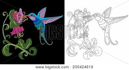Embroidery design. Collection of fancywork elements for patches and stickers. Coloring book page with hummingbird and hibiscus flower.