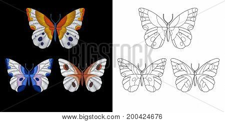 Embroidery design. Collection of fancywork elements for patches and stickers. Coloring book page with a set of three butterflies.