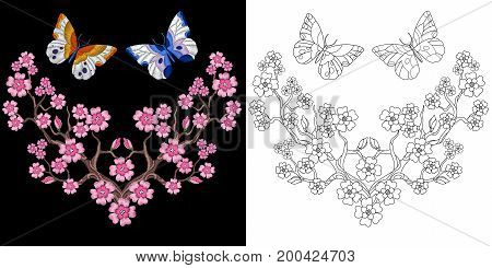 Embroidery design. Collection of fancywork elements for patches and stickers. Coloring book page with two butterflies and cherry blossom flowers.