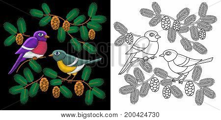 Embroidery design. Collection of fancywork elements for patches and stickers. Coloring book page with two sparrow birds.