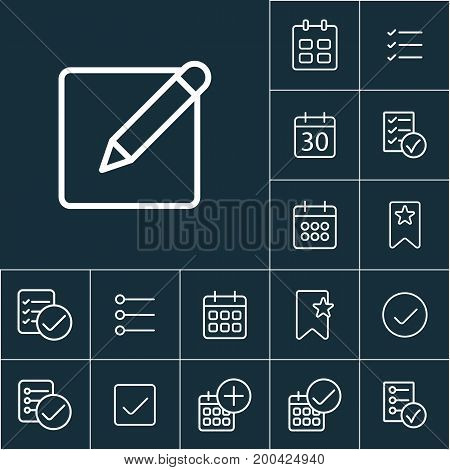 Thin Line Notepad With Pen Icon, Schedule Planning Set
