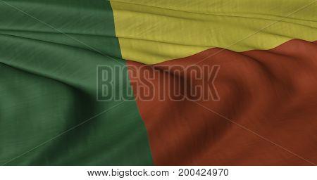 3D illustration of Benin flag fluttering in light breeze