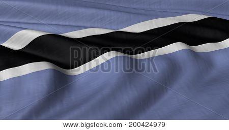 3D illustration of Botswana  flag fluttering in light breeze