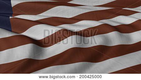 3D illustration of Liberian flag fluttering in light breeze