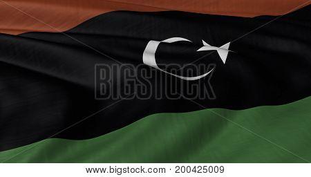 3D illustration of Libyan flag fluttering in light breeze