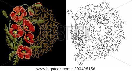 Embroidery floral wreath design. Collection of fancywork elements for patches and stickers. Coloring book page with poppy flowers and filigree mandala.