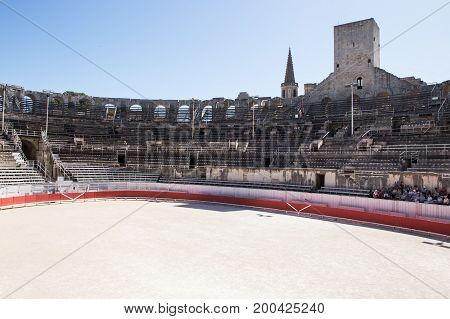 Interior of the Roman Amphitheatre, Arles, France