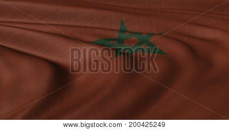 3D illustration of Moroccan flag fluttering in light breeze