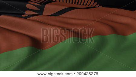 3D illustration of Malawi flag fluttering in light breeze