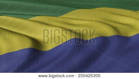 3D illustration of Gabon flag fluttering in light breeze