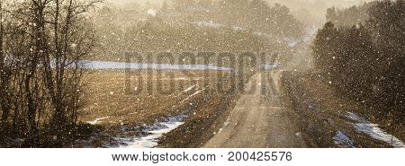 Light shines through snowy weather on a curved country road, backlit snow particles making image soft, panorama