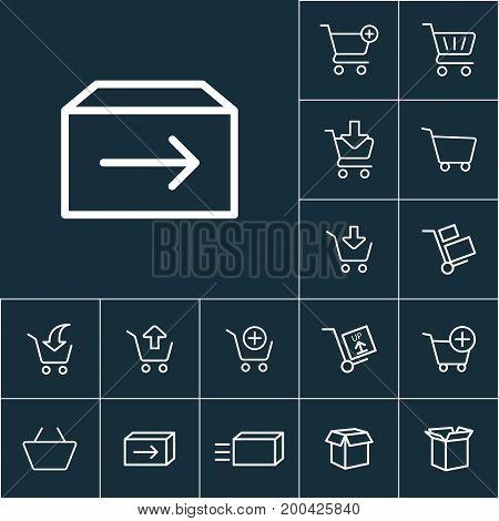 Thin Line Shipping Box Icon, Online Shopping Set