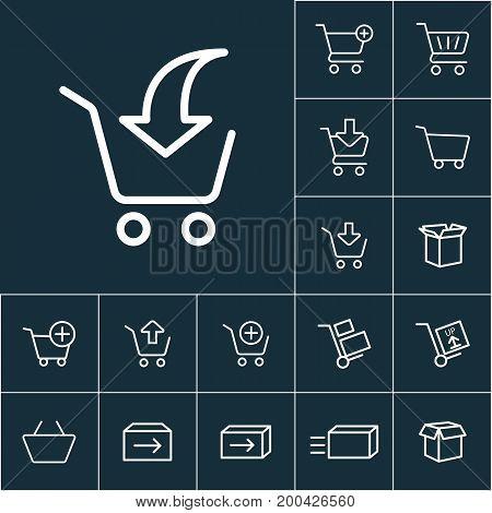 Thin Line Supermarket Trolley Add Icon , Online Shopping Set