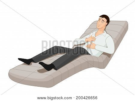 Tired man lies on a couch and relaxes