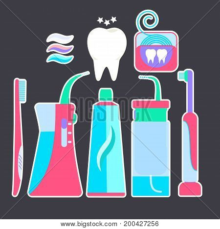 Colorful flat blue and pink tooth hygiene symbols stickers. Nice bright dental morning and evening cleaning teeth signs including toothpaste toothbrush irrigator flosser
