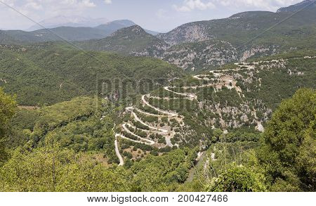 The serpentine in the mountains in the countryside (Epirus region, Greece)
