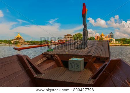 The View From Tourist Boats In The Mosque. Sarawak River.kuching, Borneo, Malaysia