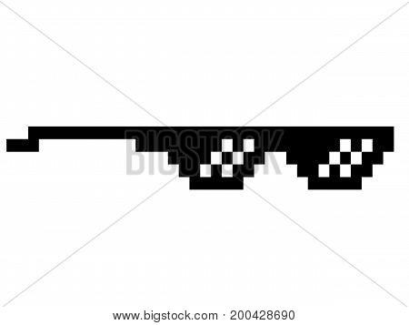 black thug life meme like glasses in pixel art style trend modern logotype graphic