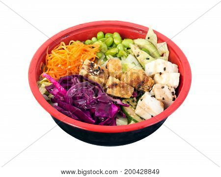 above, asian, avocado, background, bean, bowl, cabbage, carrot, chopstick, cucumber, delicious, dining, edamame, fried tofu, healthy, healthy eating, isolated, meal, poke, raw, red, sesame, soy bean, stick, table, tofu, vegan, vegetable, vegetarian, white