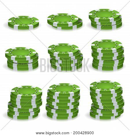 Poker Chips Stacks Vector. 3D Set. Plastic Round Poker Gambling Chips Sign Isolated On White. Casino Jackpot Concept Illustration.